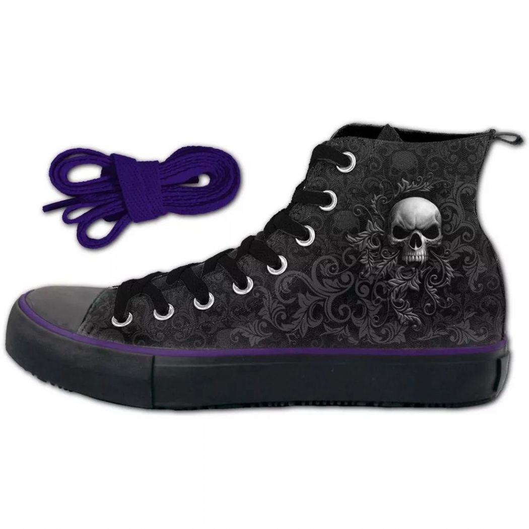 SPIRAL DIRECT Skull Scroll  Ladies Gothic High Top Sneakers